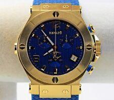Renato Men's WildeBeast Watch, Swiss ETA G10, Goldtone on Blue Rubber Strap