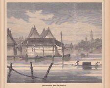 Schwimmendes Haus in Bangok HOLZSTICH von 1881 Thailand