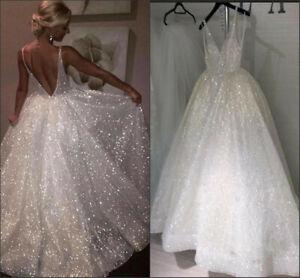 Sparkling Wedding Dresses Sleeveless Backless V-Neck A LIne Bridal Gown Custom