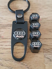 AUDI BLACK DUST VALVE CAPS SPANNER LIMITED ALL MODELS BOXED S LINE RS6 RS7 S5 S6
