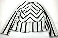 Chicos Womens White Black Ecru Long Sleeve Stripe Ottoman Jacket Size 0