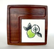 Vintage Ann Wynn Reeves 'Green Apple' Tile Teak Cheese Board Kenneth Clark 1960s