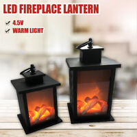 LED Fireplace Lantern Log Flamless Fire Effect Vintage Lamp Christmas Home Decor