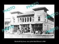 OLD LARGE HISTORIC PHOTO OF ROCKWELL CITY IOWA, VIEW OF THE HOTEL BROWER c1900