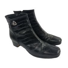 Brighton Godiva Womens Shoes Black Leather Ankle Boots Size 9 M