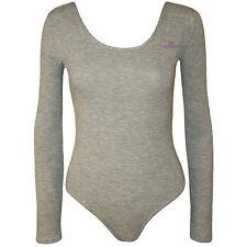 Womens Long Sleeve Stretch Bodysuit  LOT Ladies Leotard Body Top Tshirt 8-14