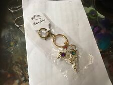 DOLPHINE NO 2  GOLD TONE CRYSTAL BLING KEYRING KEY CHAIN GIFT FASHION NEW