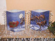Tischlicht/Windlicht Weihnachtsmann mit Rentieren - 2tlg.  - Weihnachten/Winter