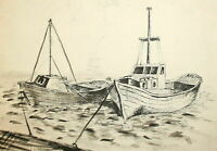 Vintage Ink Painting Seascape Landscape Harbour Ships Boats Paintings