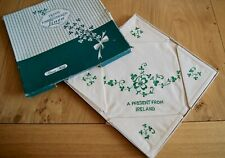 UNUSED VINTAGE IRISH LINEN HAND EMBROIDERED TABLECLOTH & NAPKINS Boxed