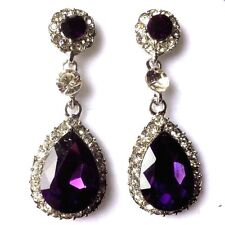 d Large purple crystal & diamante pear drop white gold plated earrings GIFTBOXED