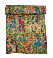 Frida Kahlo Kantha Indian Handmade  Bedspread Bed Cover Yellow Reversible Quilt