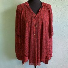 Chicos Red Sheer Popover Blouse Long Sleeve Plus Size Womens Size 3