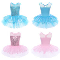 Ärmellos Ballettanzug Pallietten Ballettkleid Pink Blau für Mädchen Gr. 98-140