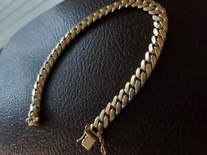 14k miami cuban link solid gold bracelet with box clasp