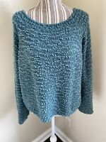 Billabong Blue/green Bell Sleeved Chunky Knit Sweater Size Large