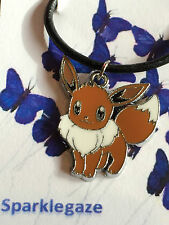 """BRAND NEW POKEMON """"EEVEE"""" BLACK FAUX LEATHER NECKLACE CHRISTMAS GIFT (65)"""