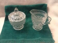 Diamond Point Clear Glass Sugar and Creamer with Lid