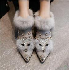 Occident Winter Womens Fox Fur Boots Rivet Leather Pointy Toe Rhinestone Shoes
