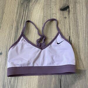 Nike Womens Small V Neck Indy Sports Bra Purple Light Support Racerback GUC