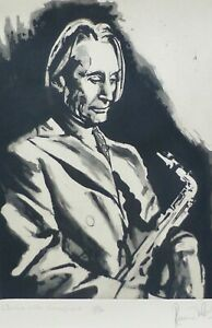 """RONNIE WOOD """"Charlie with Saxophone"""" (Watts) HAND SIGNED ETCHING ROLLING STONES"""