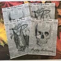 New York Times Halloween Wine Soda Bottle Labels Party Stickers Bat Skulls