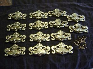 """SET OF 14 ORNATE BRASS DRAWER PULL HANDLES B1116 1989 CONT R 4 1/4"""" W x 2 1/2"""" H"""
