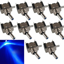 10Pcs 12V 20A Blue LED Light Rocker Toggle Switch SPST ON/OFF Car SUV Truck Boat