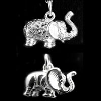 925 Sterling Silver Solid & Filigree 3D Elephant w Raised Trunk Pendant Charm I