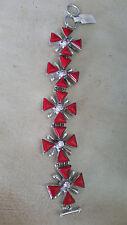 Artisan Crafted 925 Sterling Silver Coral & Zunzite Link Bracelet Adjustable