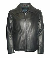 TOMMY HILFIGER  Men's Soft Cowhide Leather Jacket Black and Brown