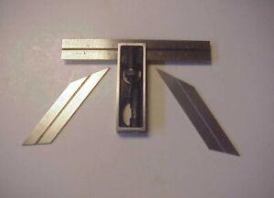 "Vintage Lufkin #26  6"" Adjustable Double Square w Bevel & Drill Grinding Blades"