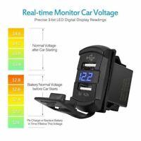 12V Dual USB Car Boat Socket Rocker Switch Panel with Voltage Voltmeter Blue *