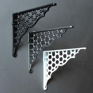 "6 x 5"" ANTIQUE CAST IRON VICTORIAN SHELF WALL BRACKET BLACK WHITE PEWTER - BR05"