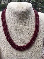 GENUINE TOP NATURAL 3 Rows 2X4mm FACETED RED  JADE BEADS NECKLACE 18-20''