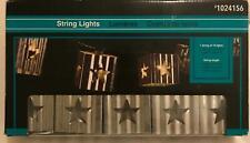 Rustic Star Metal String Lights Outdoor Steel Silver Vintage America Patriotic