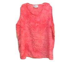 Maggie Sweet Sleeveless Top Size 2X Coral Tie Dye Look Polyester Tank