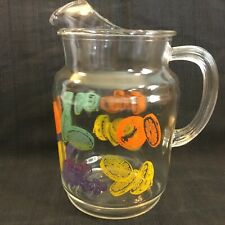 Vintage Clear Glass Pitcher with Fruit Motifs