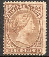 Falkland Islands 1878 bistre-brown 1/- no watermark mint SG4