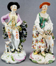 Large Derby Hand Painted Georgian Shepard Figurines With Dog & Lamb C. 1760s