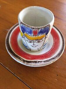 desimone italian pottery Small Cup Espresso Saucer Art