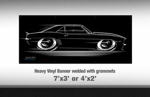 Big Banner '69 Camaro Art - Chevy SS 1969 69 RS Super Sport Chevrolet shop sign
