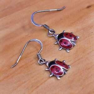 Vintage mexico Sterling silver handmade earrings, 925 enamel lady bug drops
