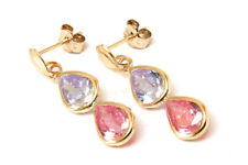 9ct Gold Double Pink and Lilac CZ Teardrop Earrings Made in UK Gift Boxed