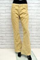 Pantalone LEVIS Donna Taglia 34 Jeans Pants Woman Beige Cotone a Costine Zampa