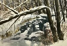 Framed DAVE RIEBE Watercolor Landscape North Shore MN Landscape Painting