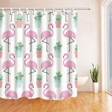Flamingo Cute Cactus Pattern Bathroom Shower Curtain Fabric w/12 Hooks 71*71inch
