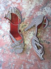 SUPER CUTE RETRO 1940s LOOK RED/WHITE/BLUE STRIPED HEELS ANKLE STRAP NYLA 7
