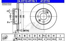 ATE Juego de 2 discos freno Antes 238mm para RENAULT MEGANE CLIO DACIA