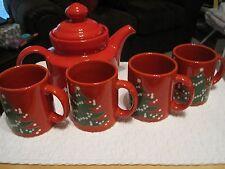 Waechtersbach Christmas Tea/Coffee Tea Pot and 4 Mugs